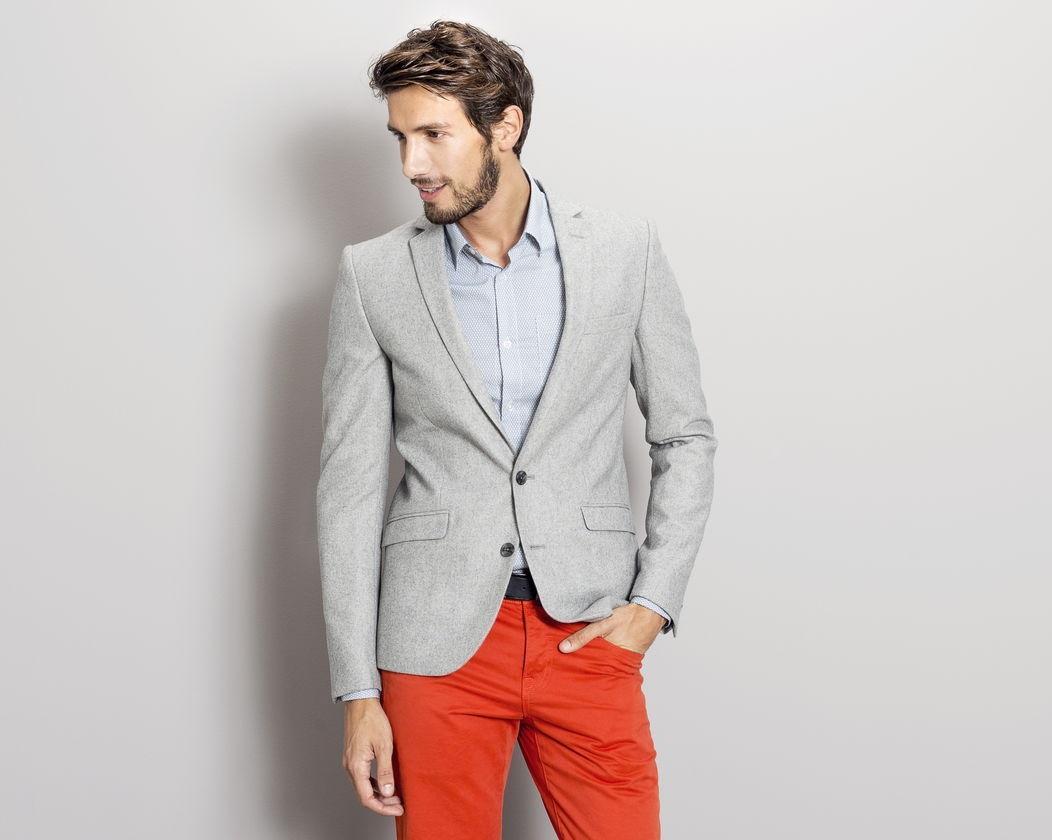 Veste homme flanelle gris clair 2 boutons (XL)