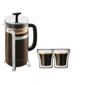 Set cafetière à piston Bodum Jesper 1 L inox + 2 verres Assam 0,1 L