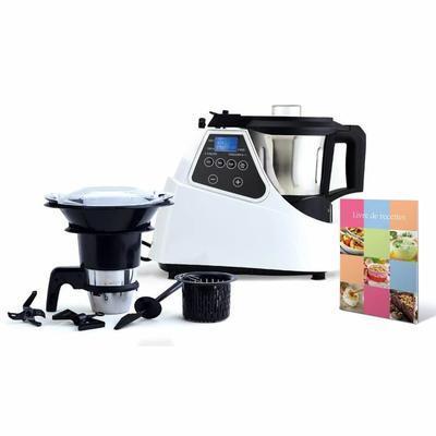 Robot cuiseur multifonctions (blanc, écran LCD)