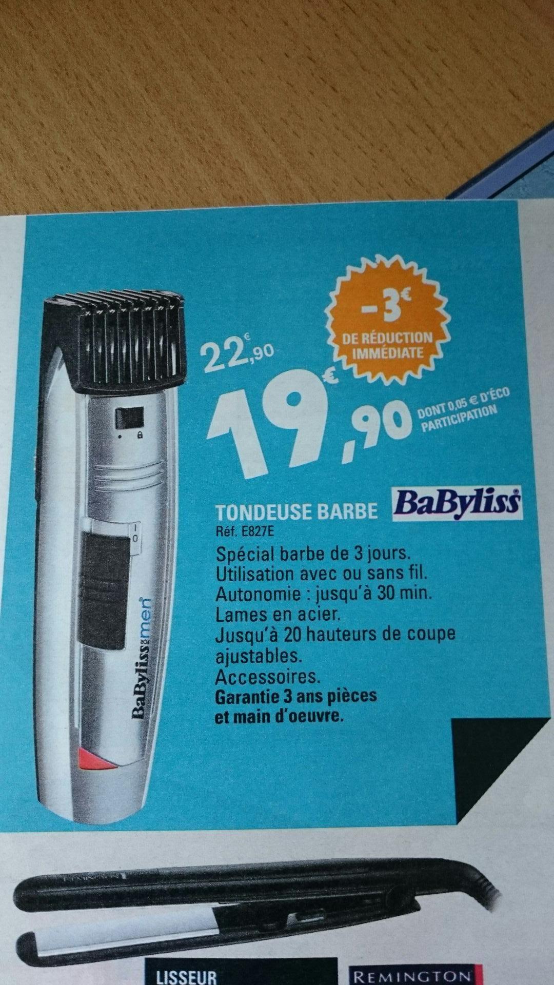 Tondeuse à barbe Babyliss E827E - Rechargeable
