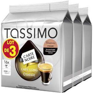 Lot de 3 paquets de 16 disques de Café Carte Noire Tassimo (5.25€ sur la carte)