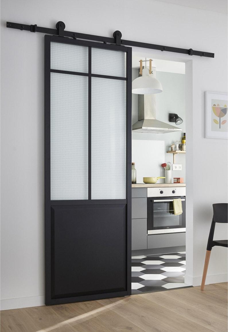 Porte coulissante atelier vitrée Artens Work - Noir, H.204 x l.73 cm
