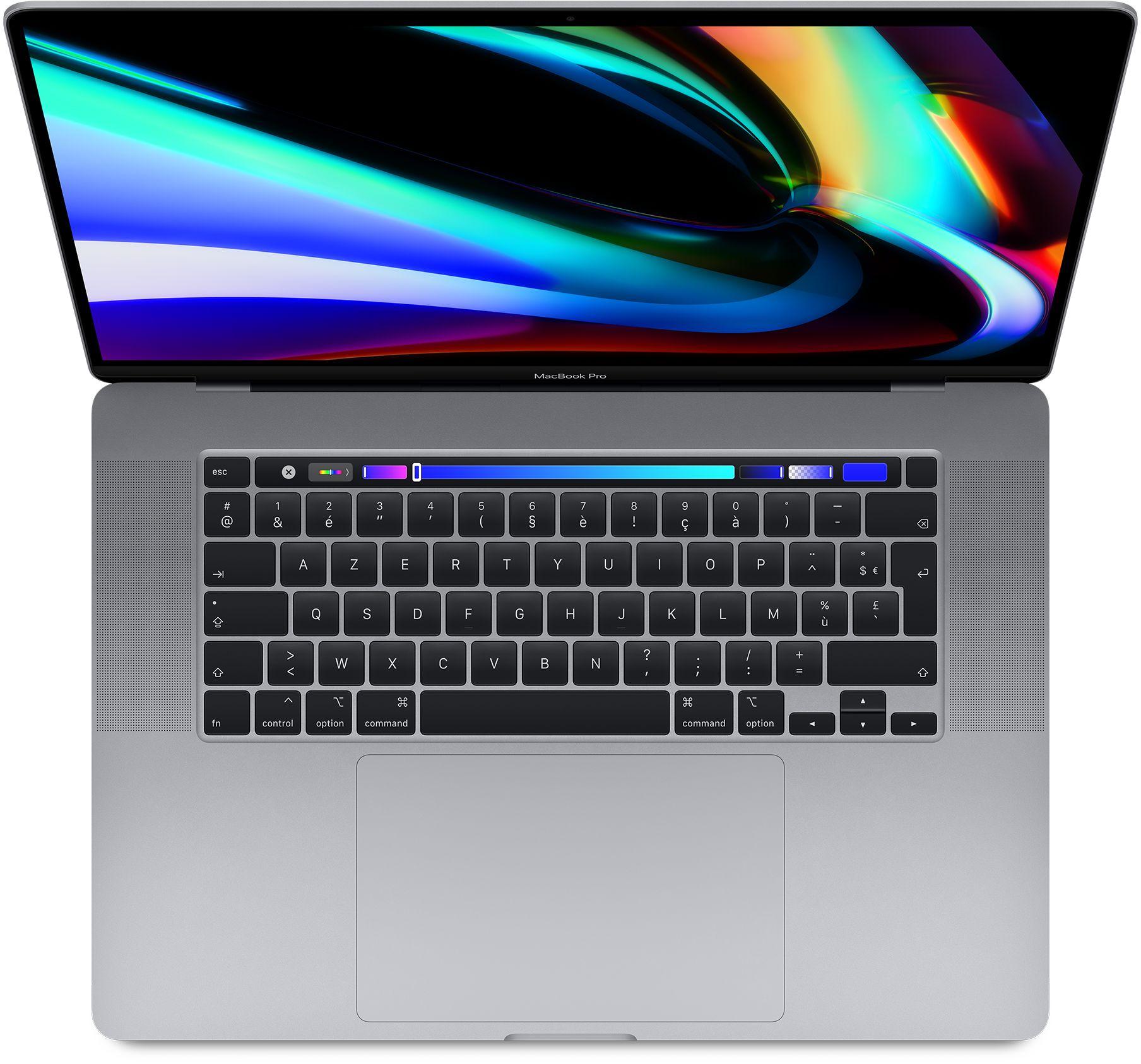 """PC portable 16"""" Apple MacBook Pro Touch Bar - Retina, i7, Radeon Pro 5300M, 16 Go de RAM, 512 Go en SSD, argent, QWERTY"""