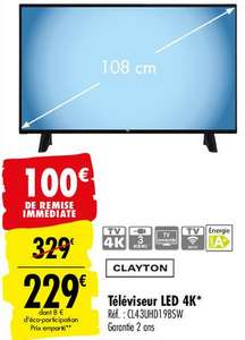 "TV 43"" Clayton CL43UHD19BSW - 4K UHD, Smart TV"