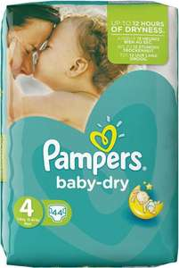 3 Packs de couches Pampers Baby Dry T4 ou T4+ (soit 132 couches)