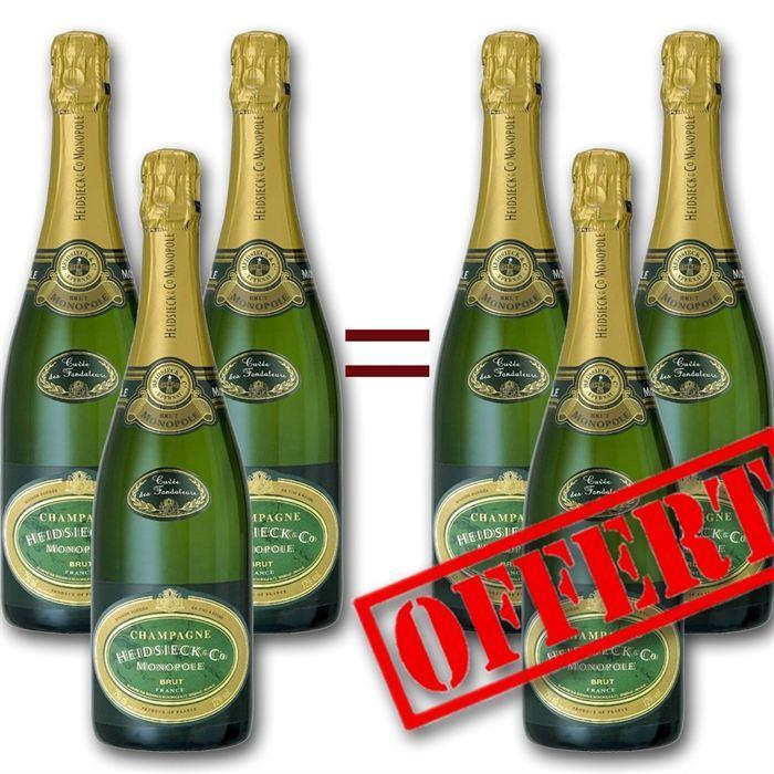 6 Bouteilles de Champagne Heidsieck & Co Cuvée des Fondateurs 75cl