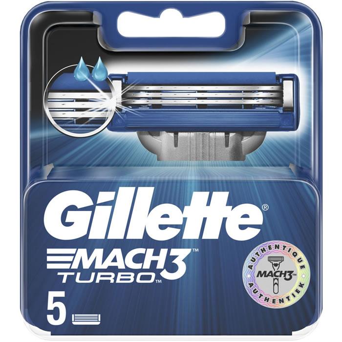 80% de réduction sur une sélection de recharges de rasoirs - Ex : 5 Recharges pour GILLETTE : Mach 3 Turbo - Recharges rasoir 5 lames