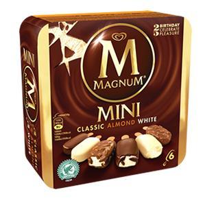 Lot de 8 mini glaces Magnum Classic Almond White (via BDR)