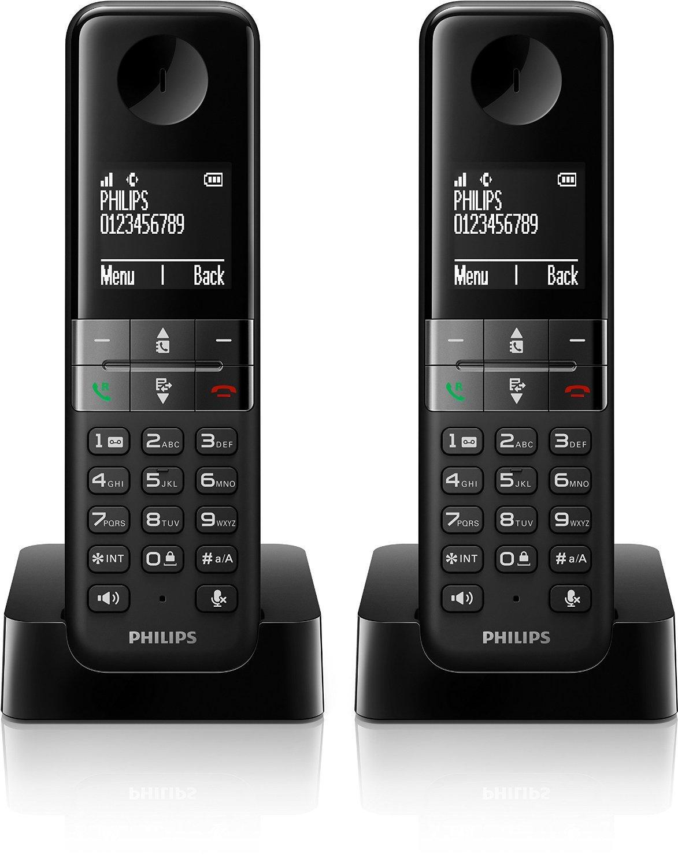téléphone sans fil Philips D4502B/FR - DECT Duo Noir (ODR de 15€)