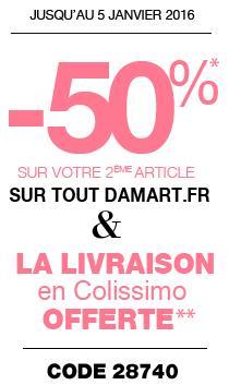 50% de réduction sur le 2ème article acheté + Livraison gratuite