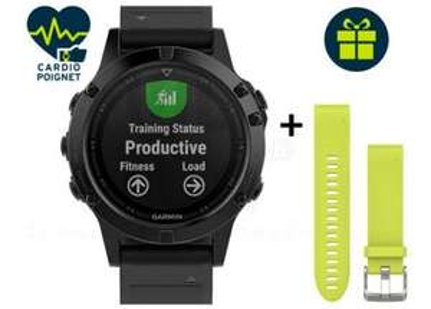 Montre connectée Garmin Fenix 5 GPS Multisport Sapphire + Bracelet QuickFit