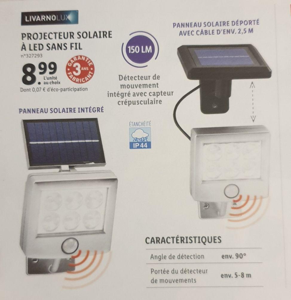 Projecteur extérieur sans fil LED Livarnolux - Panneau solaire intégré