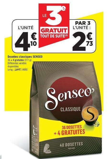 3 paquets de 40 dosettes Café Senseo (avec 2 BDR de 0,50€)
