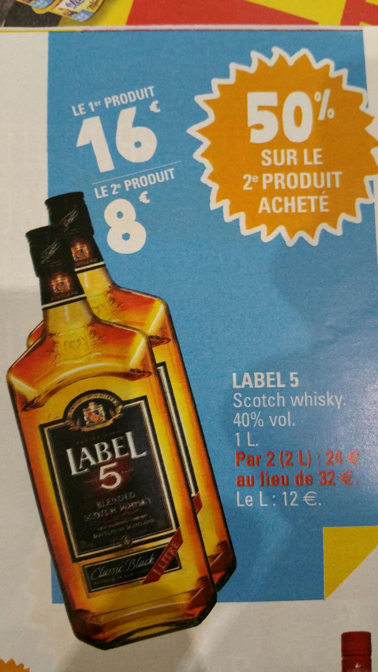 2 Bouteilles de Whisky Label 5 - 1L