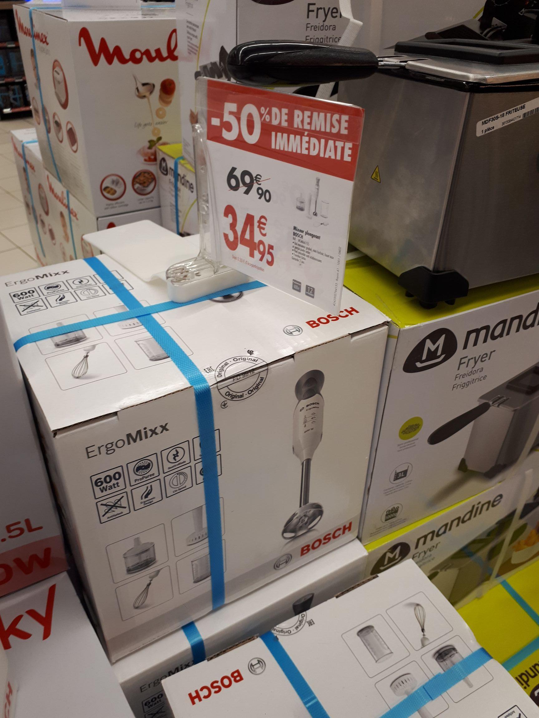 Mixeur plongeant Bosch Ergomixx MSM66155 - 600W, régulateur de vitesse, fonctions fouet, hachoir, purée (Rennes 35)
