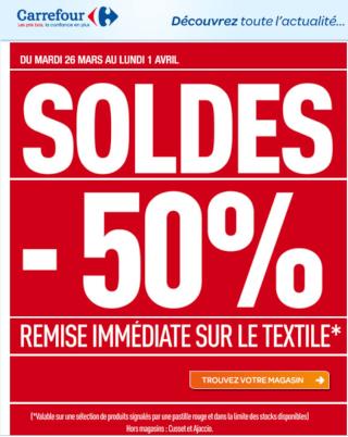 SOLDES  -50 % sur le textile  sur produits indiqués