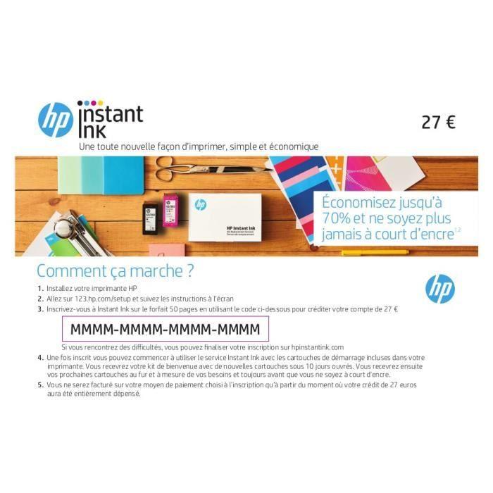 Carte prépayée HP Instant Ink de 27€ avec code promo AFFAIRE30