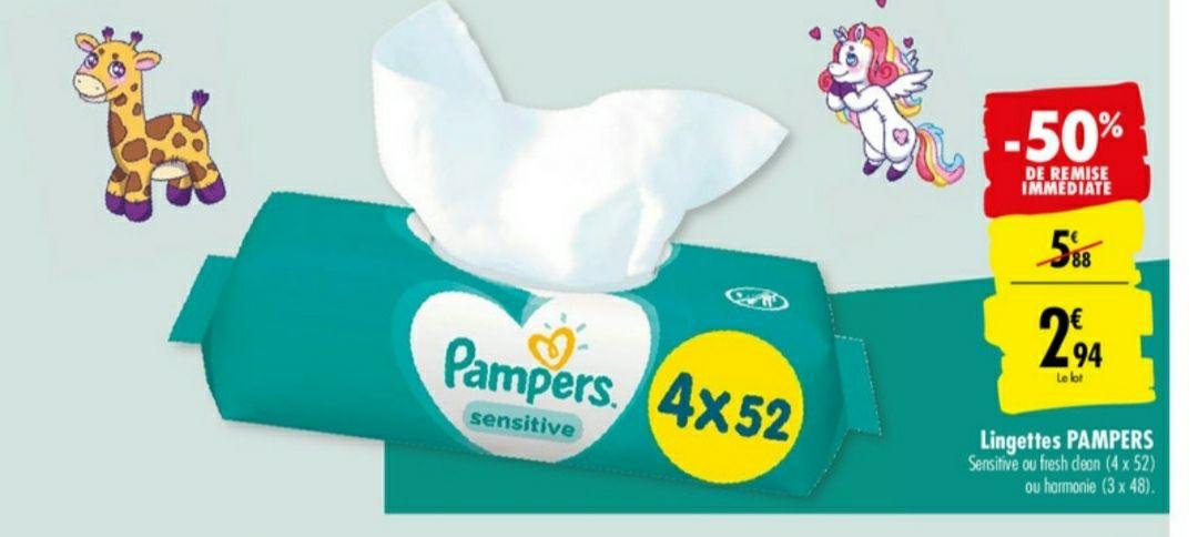 Lot de 4 paquets de 52 lingettes Pampers (Sensitive ou Fresh Clean)
