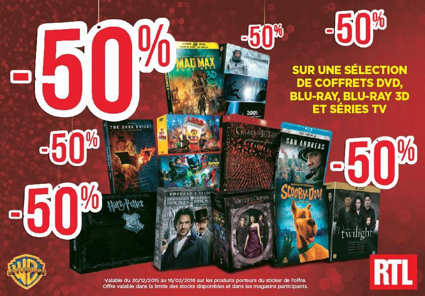 50% de réduction sur une sélection de Coffrets, Blu-ray, Blu-ray 3D et Séries