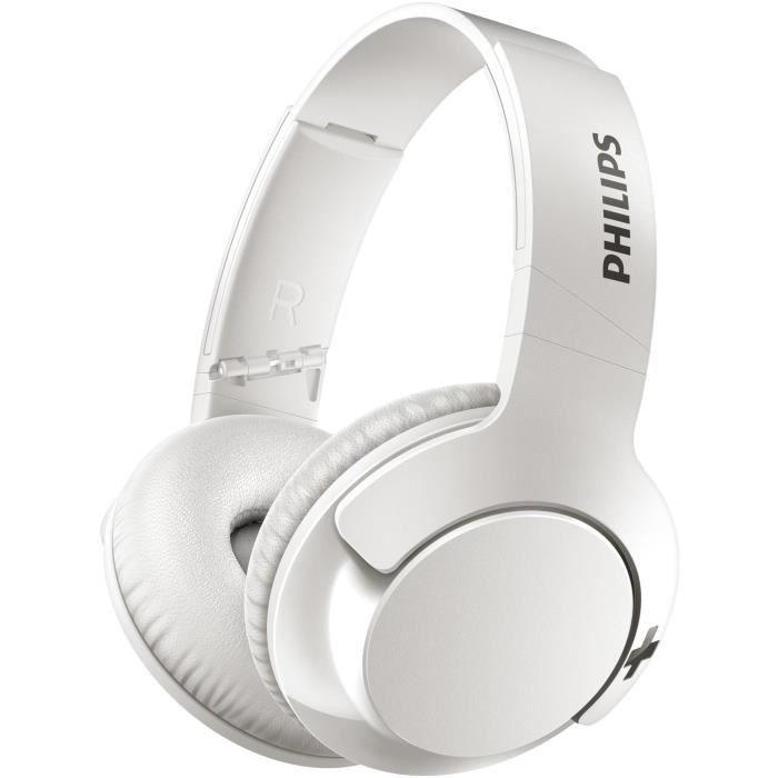 Casque audio sans-fil Philips SHB3175WT/00 - Bluetooth, Bass+, blanc