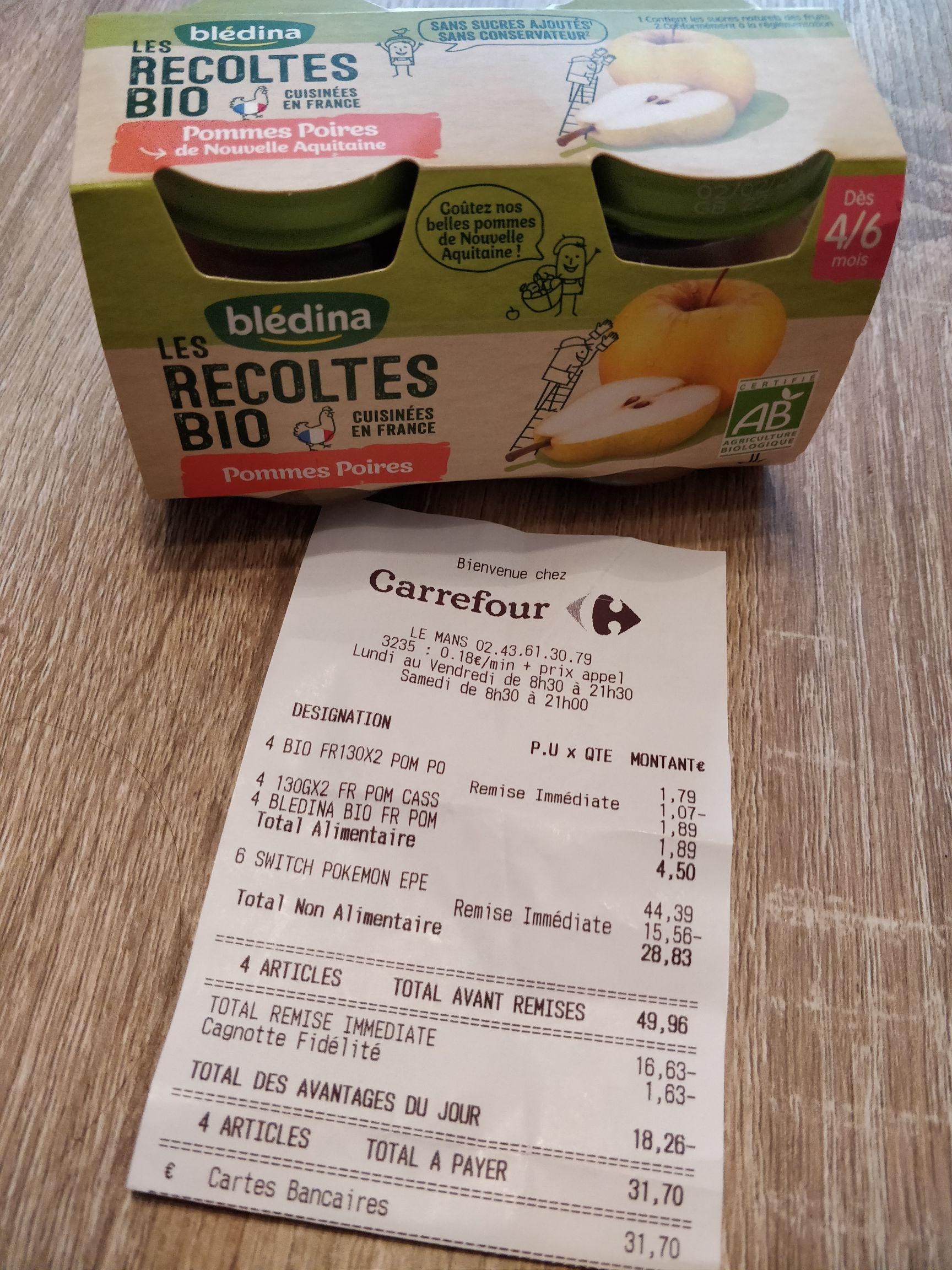 1 Compotes Blédina Les Récoltes Bio achéte = 60% de réduction sur la 2ème - Centre Sud du Mans (72)