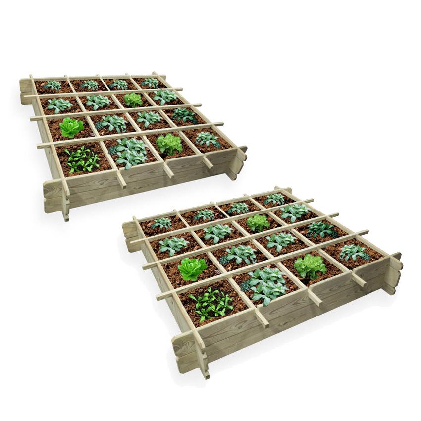 Lot de 2 carrés potagers 120x120 avec bâche de protection (Dispo dans plusieurs départements)