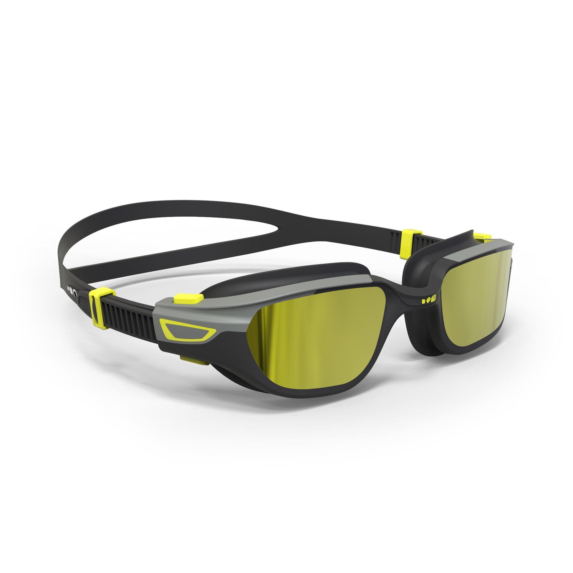 Lunettes de natation 500 Spirit - Taille L, Verres miroirs jaunes