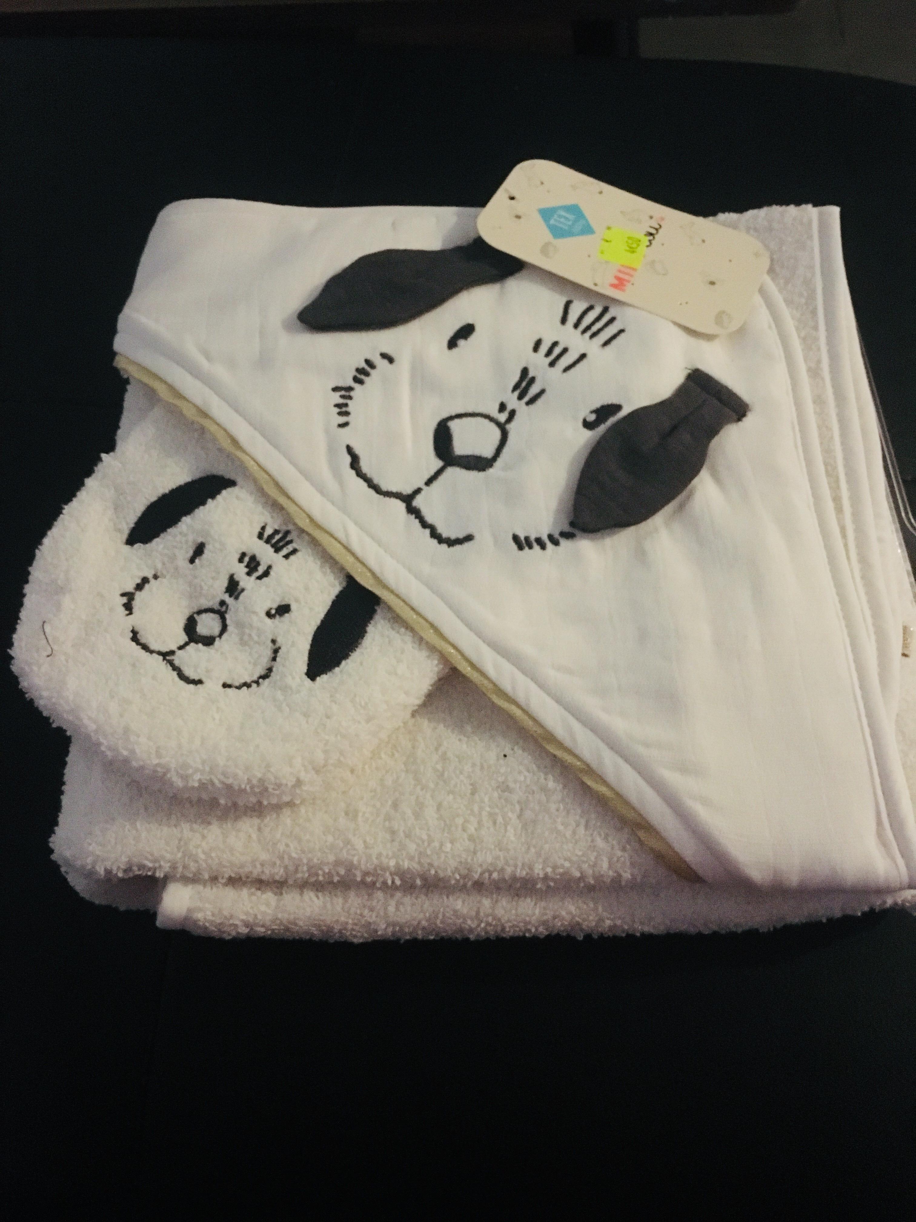 Cape de bain Tex Baby (80x80, 100%coton) + gant de toilette - Vitrolles (13)