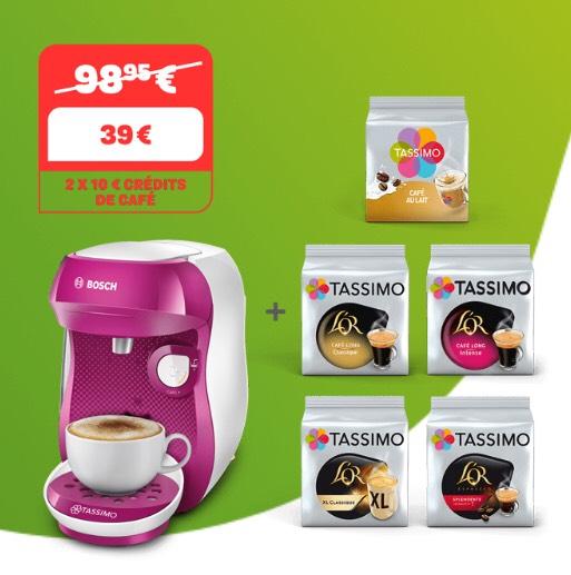Pack Cafetière à dosettes Tassimo Happy + 5 paquets de dosettes offertes