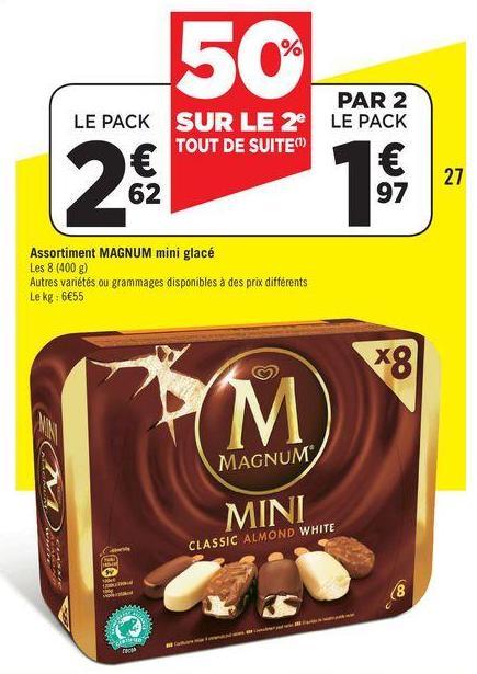 2 paquets de Magnum Mini Glacé (avec BDR de 0,80€)