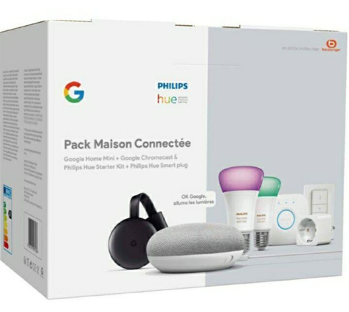 Pack maison connectée - 2 Ampoules Philips Hue + Dim Switch + Pont + Prise + Google Home Mini + Chromecast 3 (171,01€ avec SOL20DES)