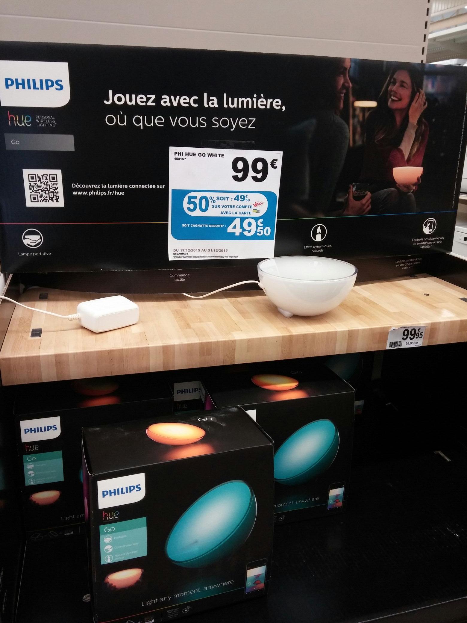 Lampe d'ambiance connectée Philips Hue Go (Avec 49.5€ sur la carte Waaoh)