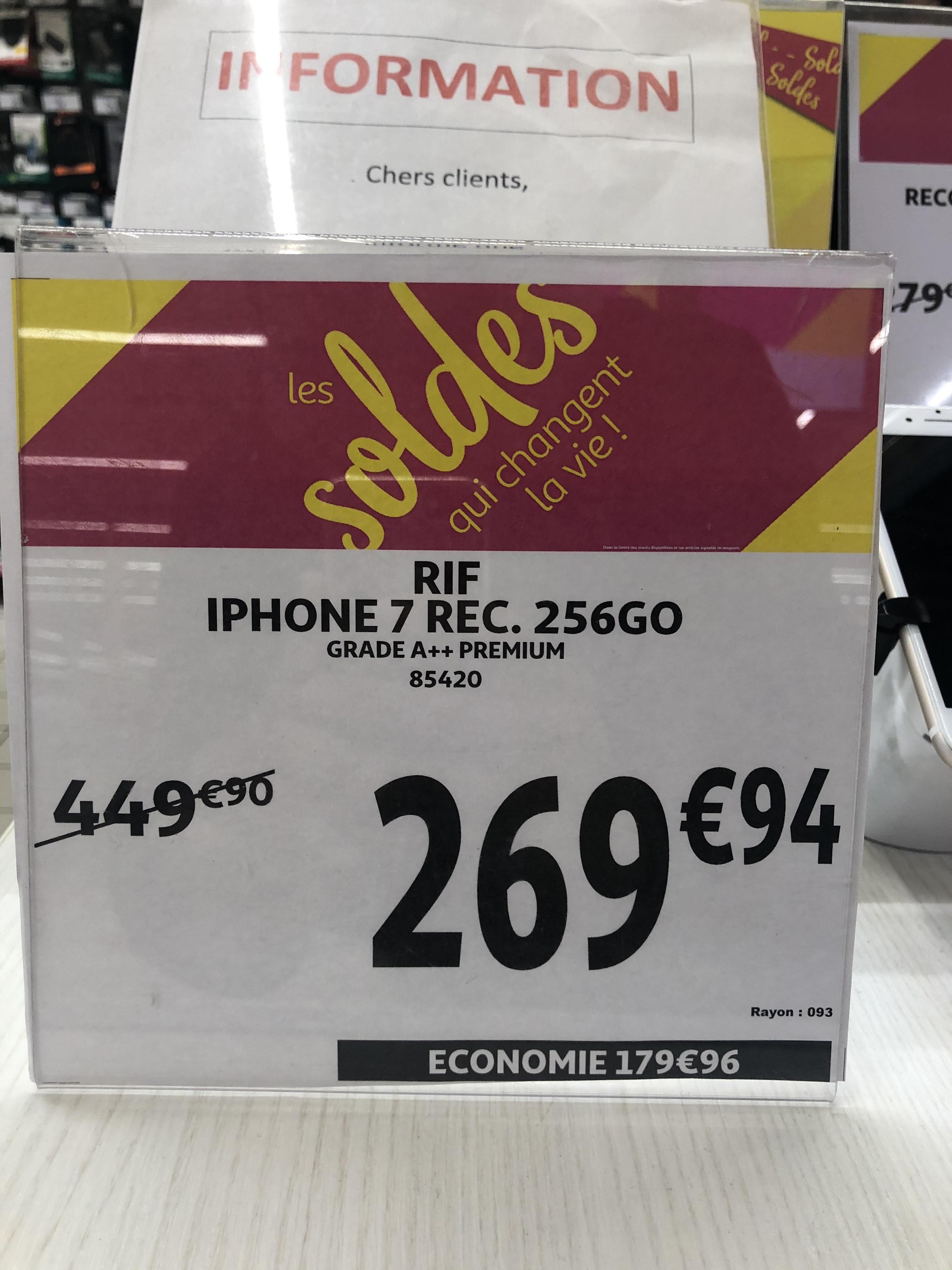 "Smartphone 4.7"" iPhone 7 - 256Go, Noir (Reconditionné) - Villars (42)"