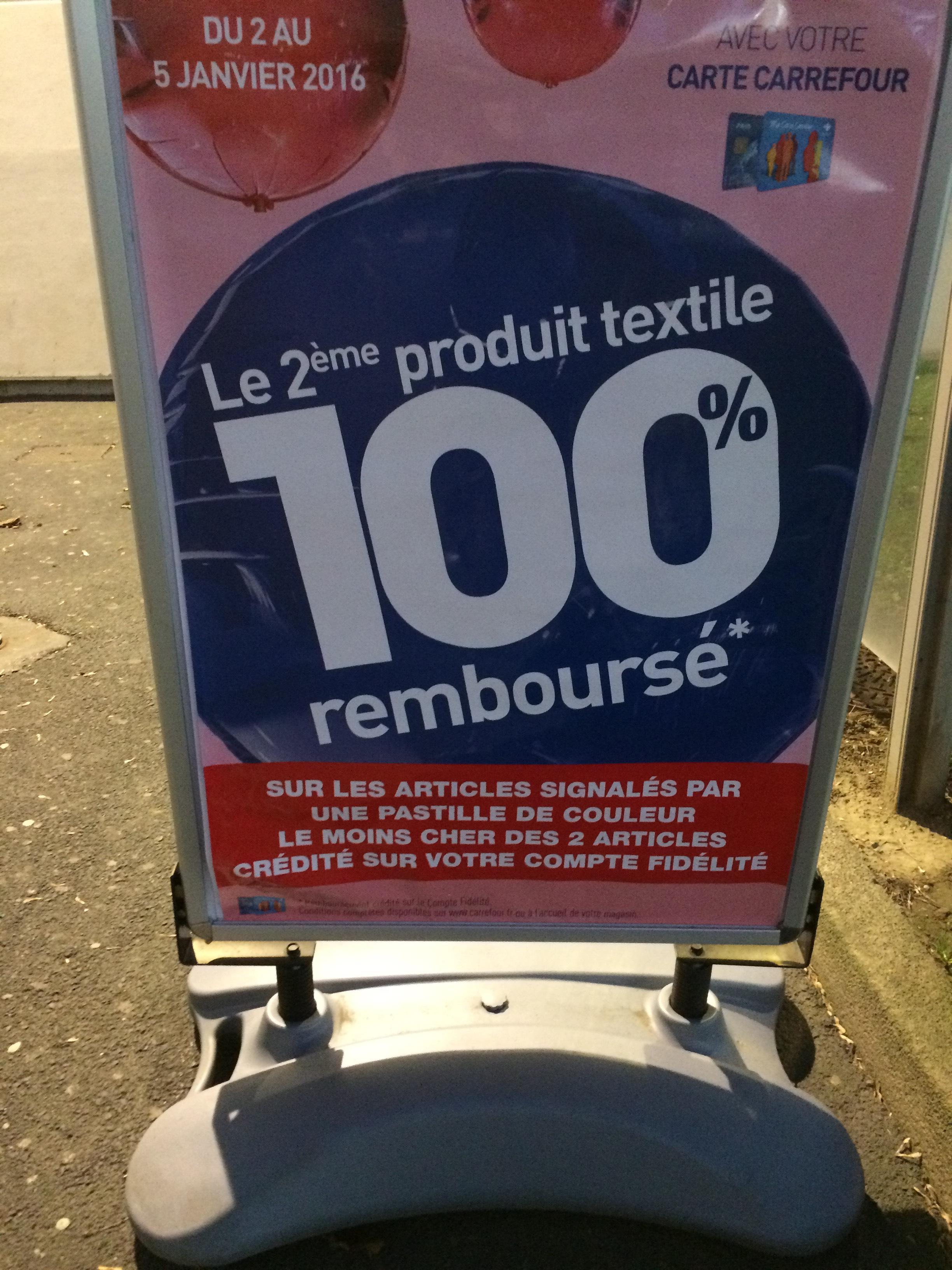 Le 2ème produit textile 100% remboursé (sur articles signalés)