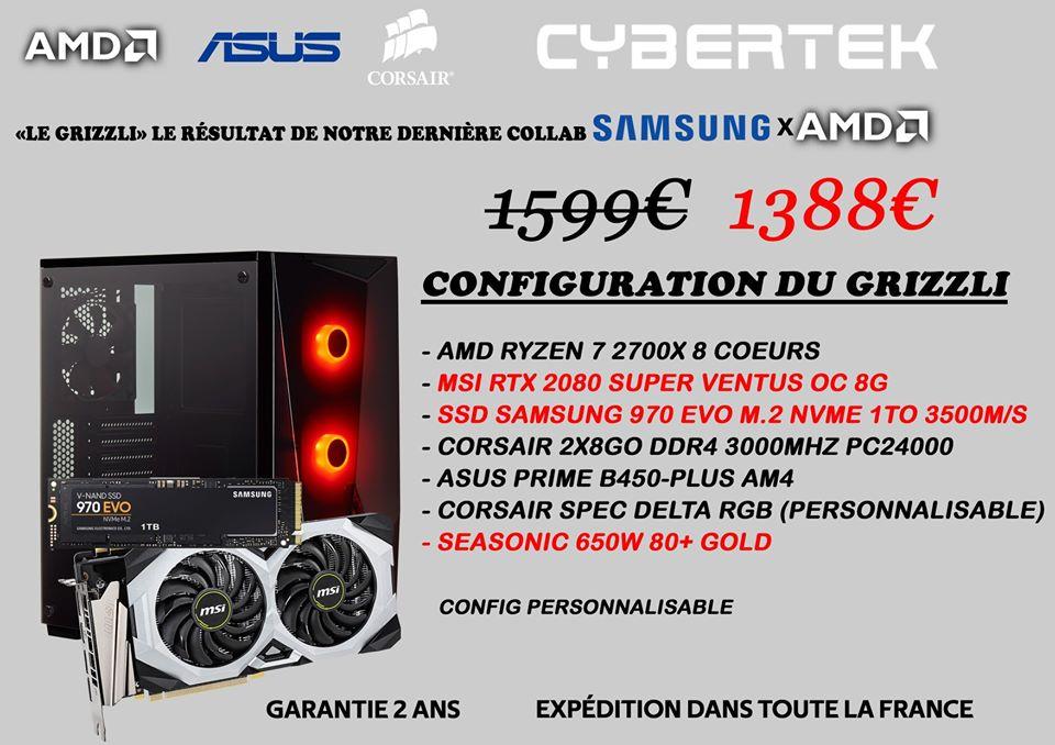 PC Gamer CyberTek (Concept Store) - Ryzen 5 3600X, RTX 2080 Super 8Go, 16Go de Ram
