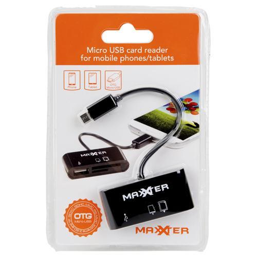 Lecteur de carte Maxxter pour smartphone et tablette (prise micro USB)
