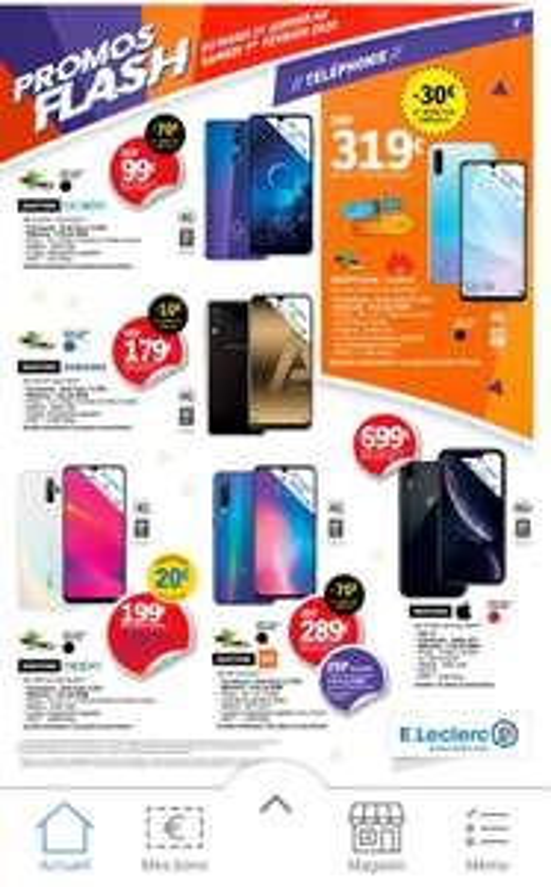 "Sélection de Smartphones en promotion - Ex: Smartphone 5.97"" Xiaomi MI 9 SE - 6 Go de Ram, 64 Go (via ODR de 30€)"