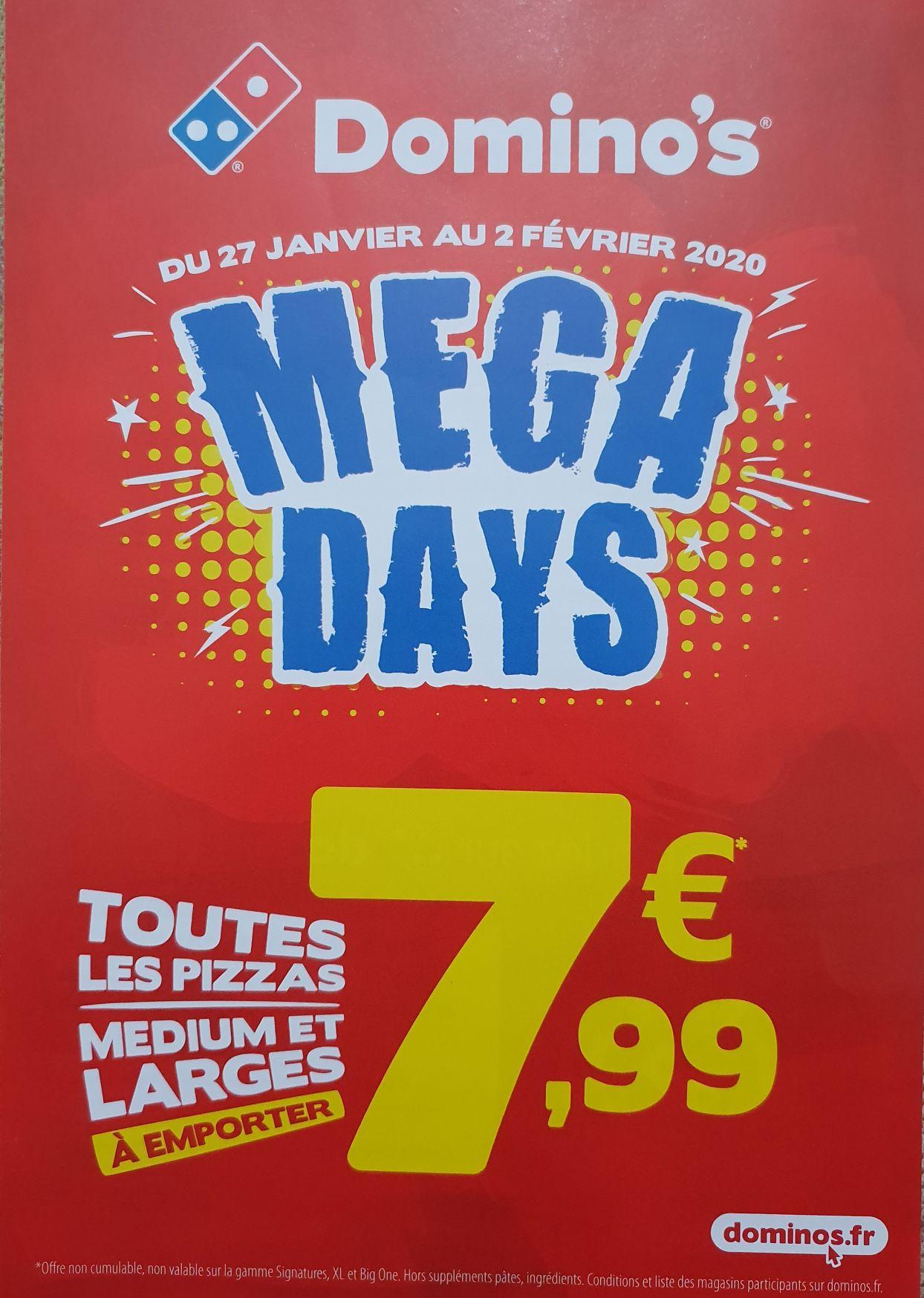 Domino's Mega Days - toutes les pizzas medium et larges à emporter à 7,99€