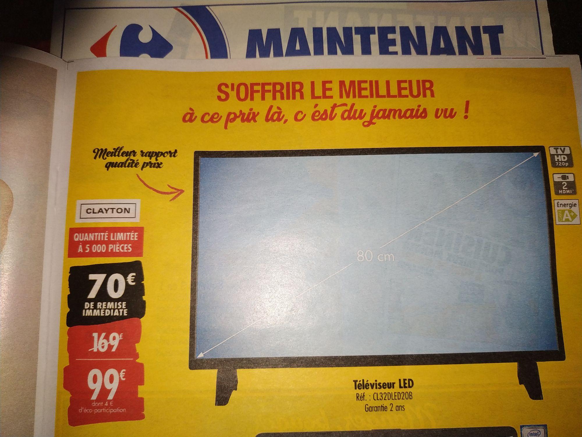 """TV 33"""" Clayton CL32DLED20B - LCD, LED, Tuner TNT HD intégré, 2xHDMI"""