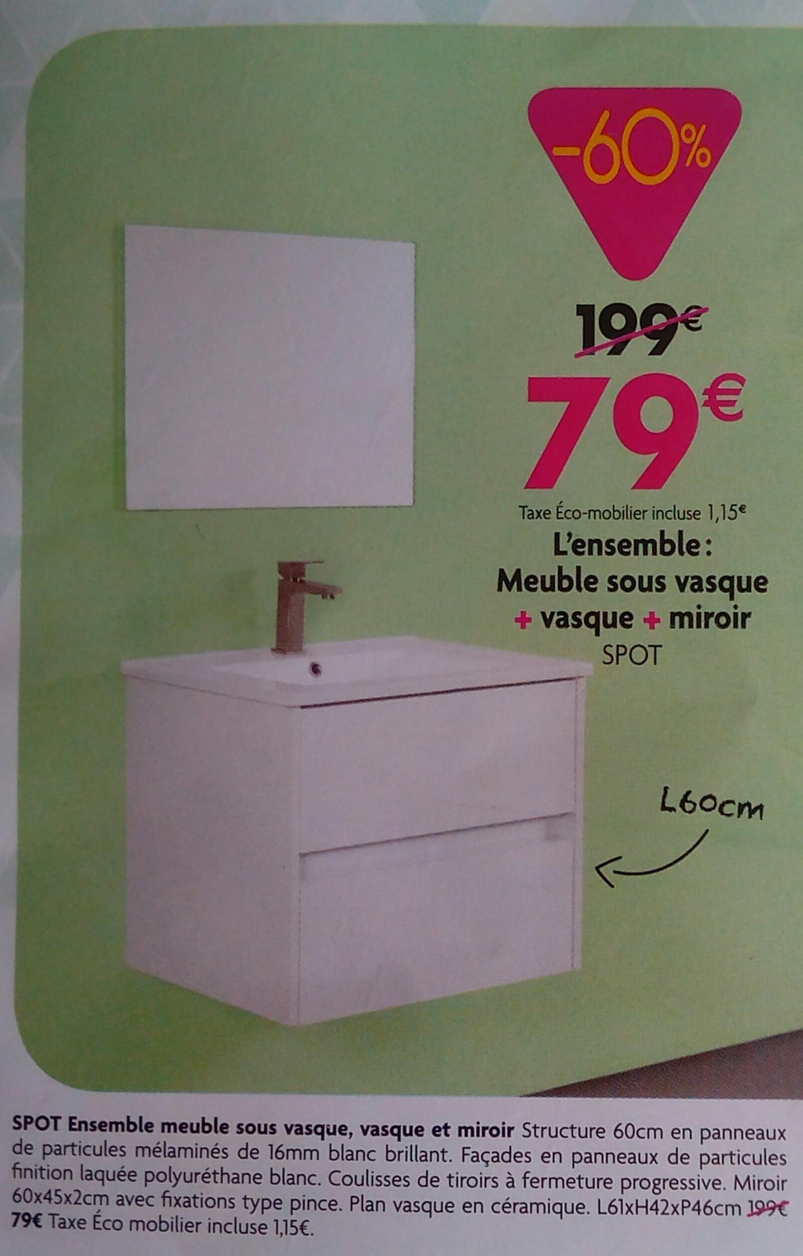 Ensemble Meuble sous vasque + Vasque + Miroir