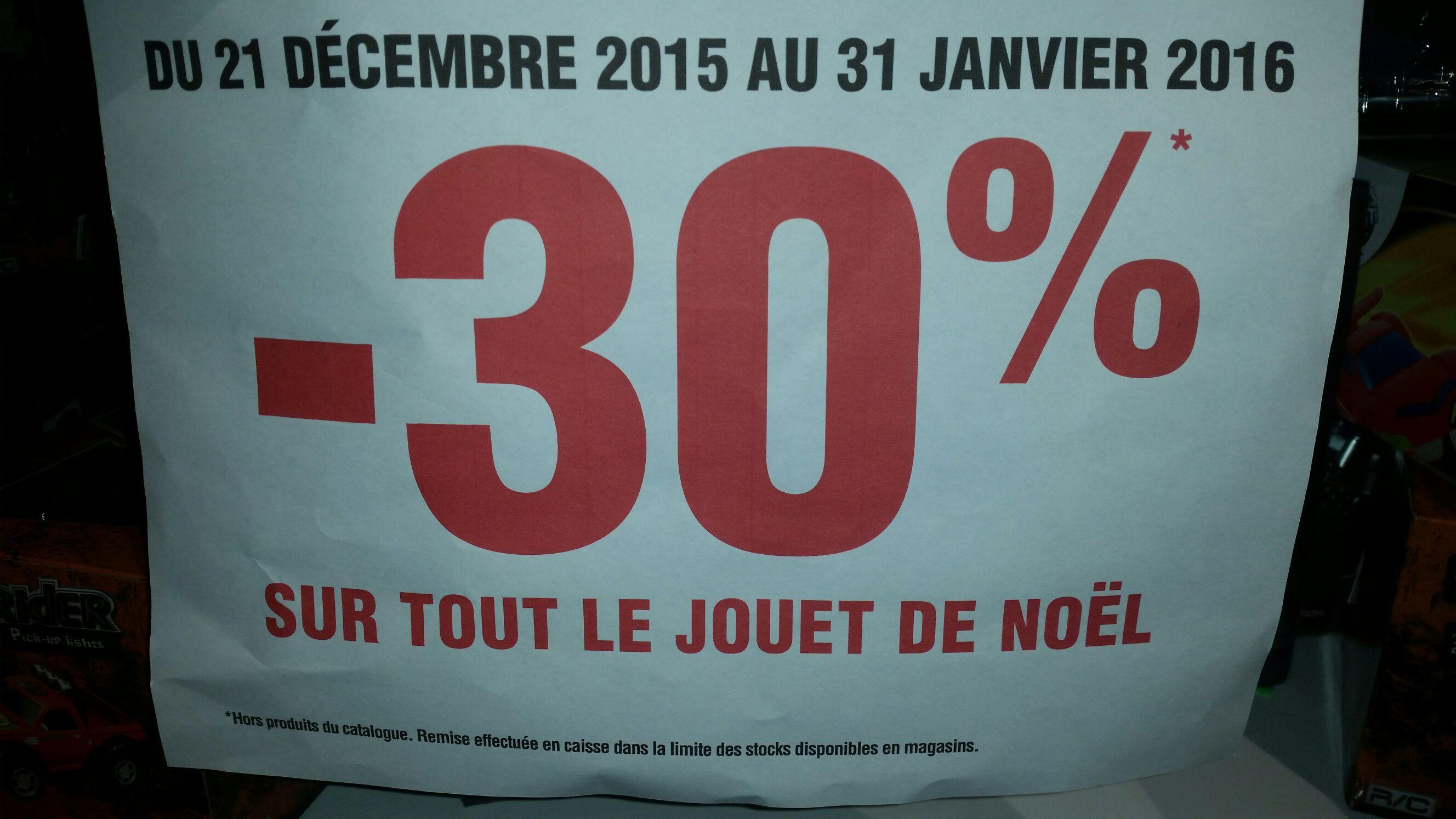 30% de réduction sur tous les jouets et -40% sur les décorations de Noël