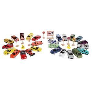 Pack de 25 petites voitures MOTORMAX + Panneaux de signalisation