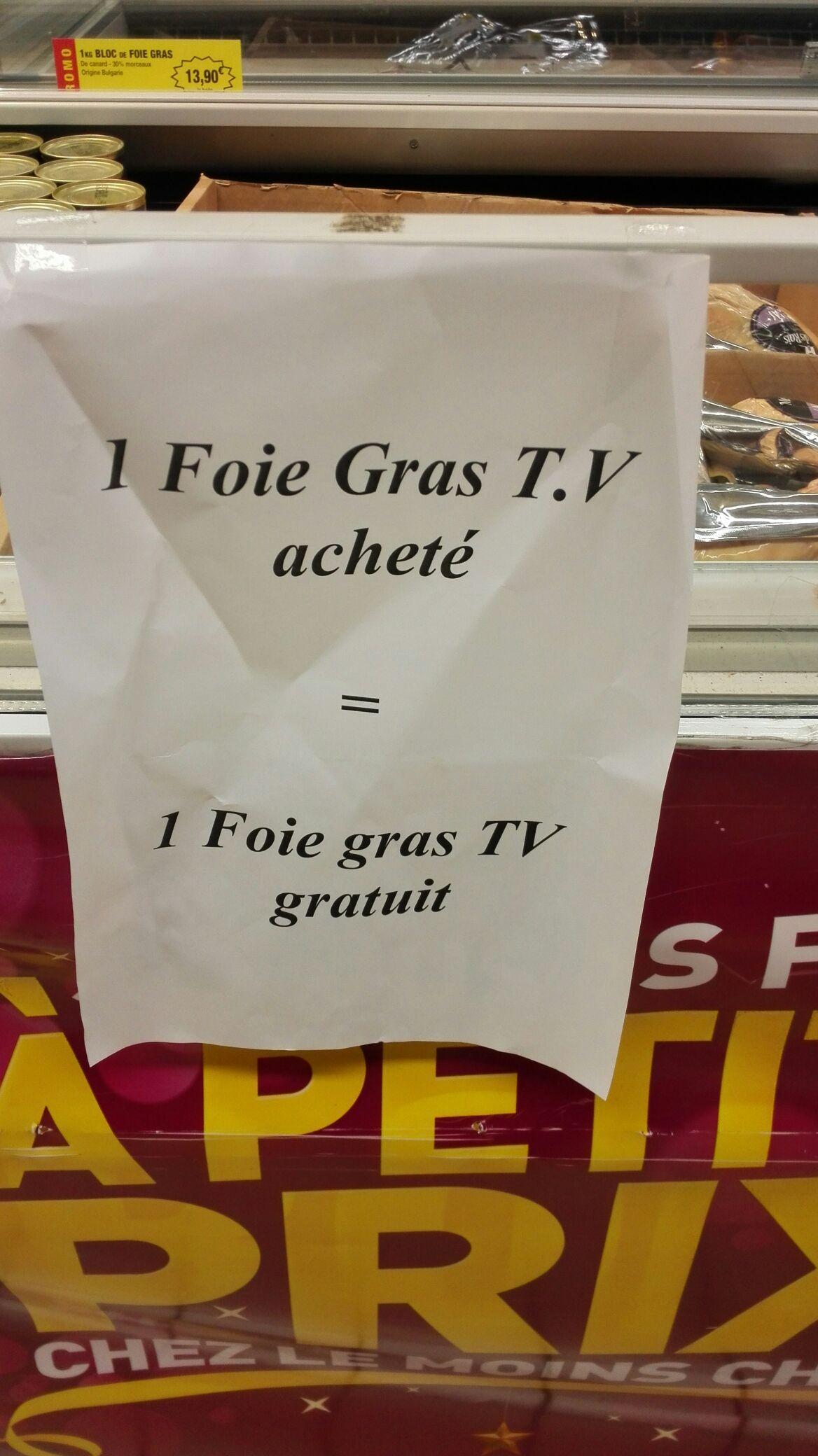 Un foie gras frais acheté = un foie gras offert, soit le lot (1 Kg)