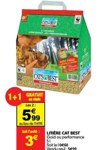 2 Packs de Litière Cat's Best Nature Gold ou Performance - 2x5L