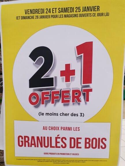 2 sacs de Granulés / Pellets de bois achetés = 1 offert (le moins cher des 3) - Arbent (01)