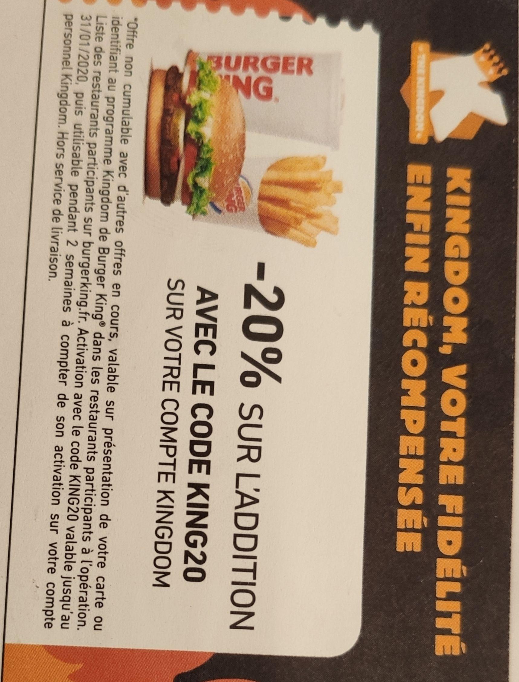 20% de réduction sur votre commande (Restaurants participants)