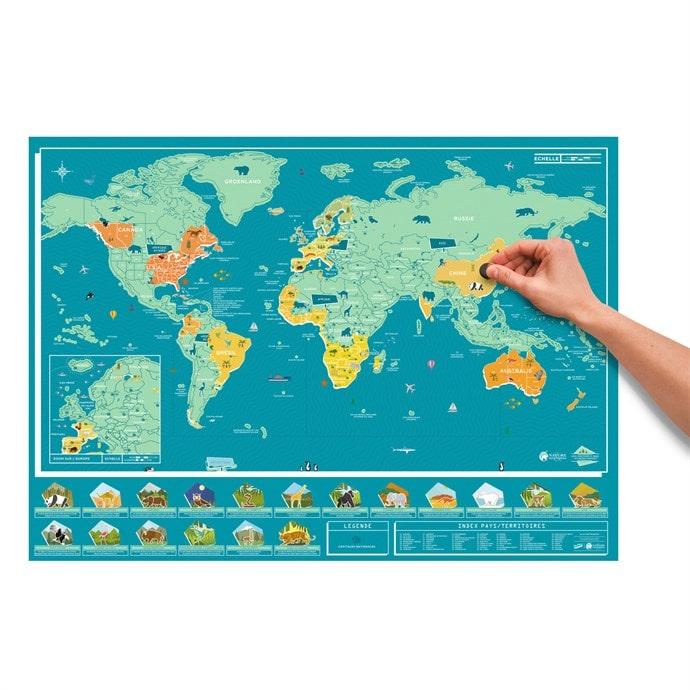 Carte du monde animaux à gratter - 82 x 58 cm