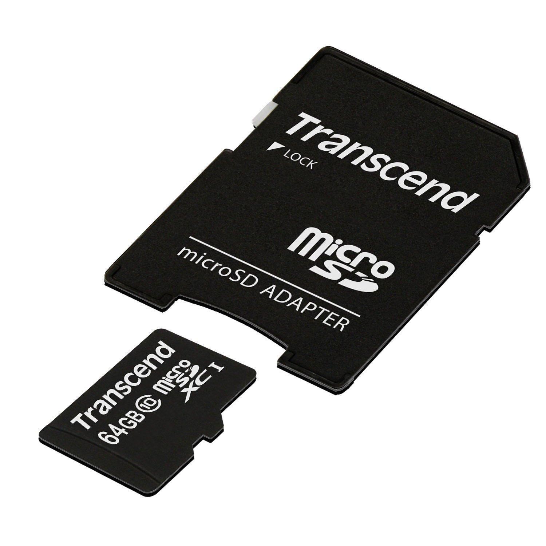 micro SDXC   TranscendCarte Mémoire Classe 10 avec Adaptateur - 64 Go