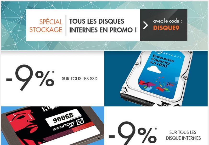 9% de réduction sur tous les disques durs internes et SSD