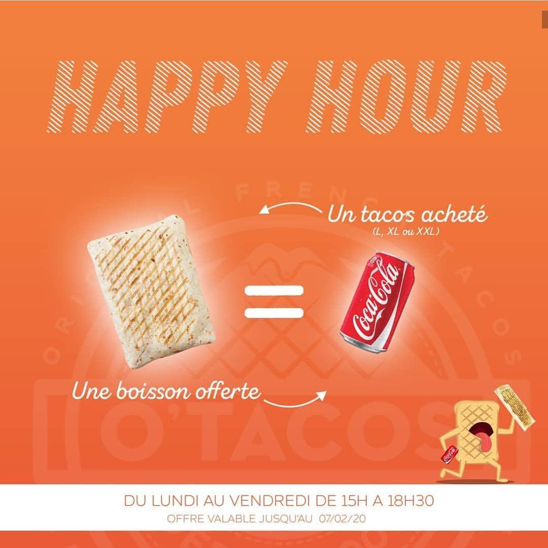 1 Tacos acheté = 1 boisson offerte du Lundi au Vendredi de 15h à 18h30 - Tours Nord (37)